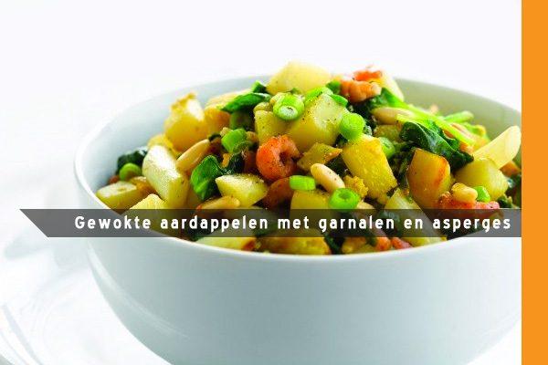 MijnAardappel.nl - Recept Gewokte aardappelen met garnalen en asperges
