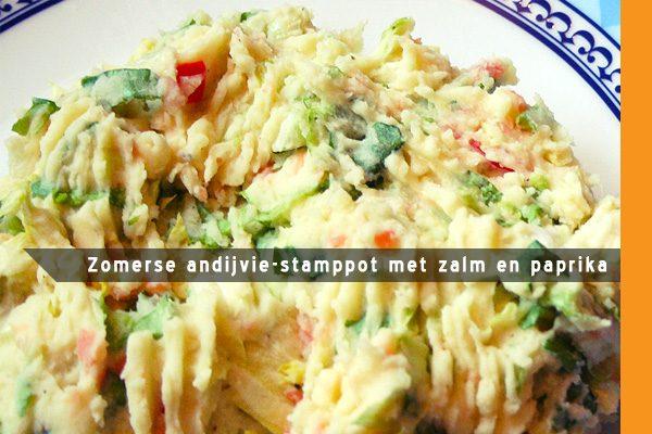 MijnAardappel.nl - Zomerse andijvie-stamppot met zalm en paprika